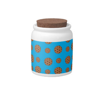 Sky blue chocolate chip cookies pattern candy jars