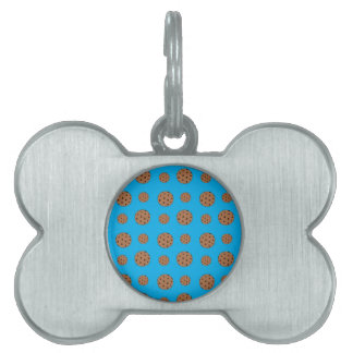 Sky blue chocolate chip cookies pattern pet ID tag