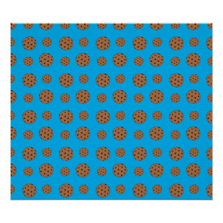 Sky blue chocolate chip cookies pattern poster