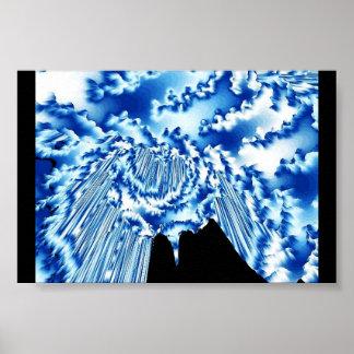 Sky Blue Cloud Burst Poster