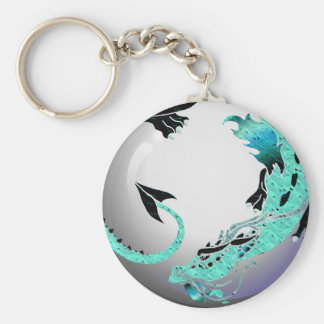 Sky Blue Coiled Dragon Keychains