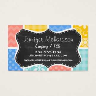 Sky Blue, Coral Pink, and Yellow Cute Checkered Business Card