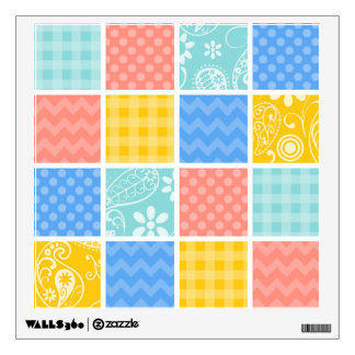Sky Blue, Coral Pink, and Yellow Cute Checkered Wall Decal