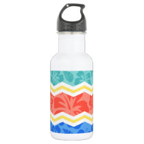 Sky Blue, Coral Pink, and Yellow Tropical Pattern Stainless Steel Water Bottle