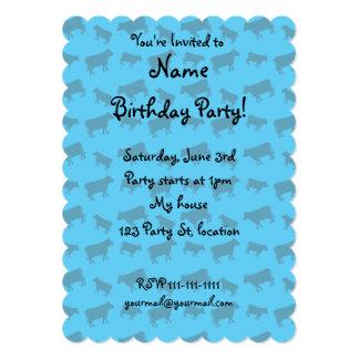 Sky blue cow pattern 5x7 paper invitation card