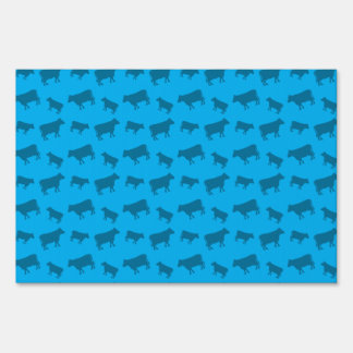 Sky blue cow pattern sign