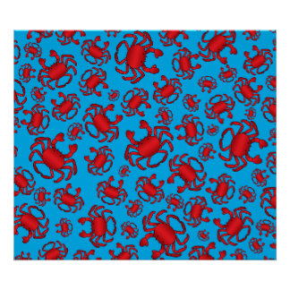 Sky blue crab pattern posters