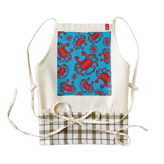 Sky blue crab pattern zazzle HEART apron