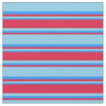 [ Thumbnail: Sky Blue, Crimson & Blue Colored Lines Pattern Fabric ]
