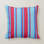 [ Thumbnail: Sky Blue, Crimson & Blue Colored Lines Pattern Throw Pillow ]
