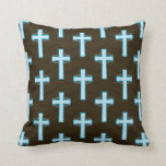 Sky Blue Cross on Brown Chevron Pillows