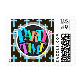 Sky Blue Cross on Brown Chevron Stamp