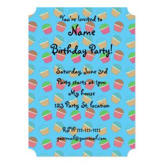 Sky blue cupcake pattern 5x7 paper invitation card