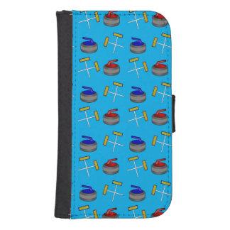 sky blue curling pattern phone wallet cases