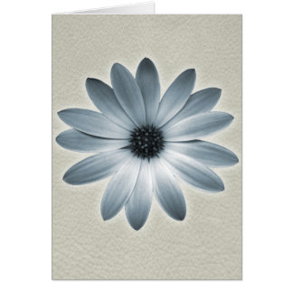 Sky Blue Daisy on Stone Leather Print Greeting Card