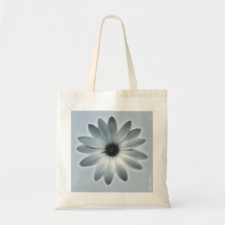 Sky Blue Daisy on Stone Leather Print Tote Bag
