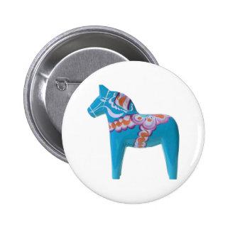 Sky Blue Dala Horse Button