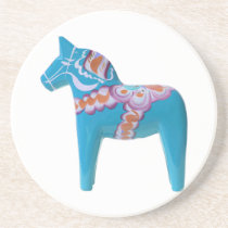 Sky Blue Dala Horse Drink Coaster
