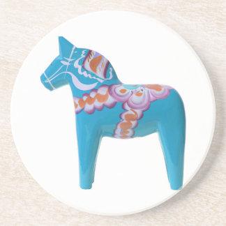 Sky Blue Dala Horse Drink Coaster