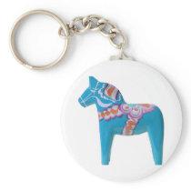 Sky Blue Dala Horse Keychain