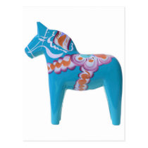 Sky Blue Dala Horse Postcard