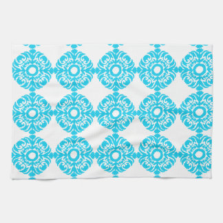 Sky Blue Damask Pattern Kitchen Towel
