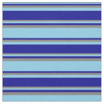 [ Thumbnail: Sky Blue, Dark Blue & Grey Colored Stripes Fabric ]