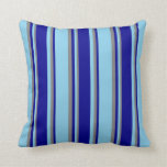 [ Thumbnail: Sky Blue, Dark Blue & Grey Colored Stripes Pillow ]