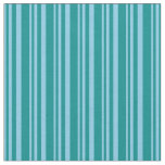 [ Thumbnail: Sky Blue & Dark Cyan Colored Stripes Fabric ]