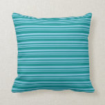 [ Thumbnail: Sky Blue & Dark Cyan Colored Stripes Throw Pillow ]