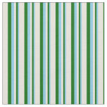 [ Thumbnail: Sky Blue, Dark Green, and Beige Colored Lines Fabric ]