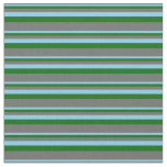 [ Thumbnail: Sky Blue, Dark Green, and Dim Gray Colored Lines Fabric ]