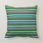 [ Thumbnail: Sky Blue, Dark Green, and Dim Gray Colored Lines Throw Pillow ]