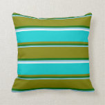 [ Thumbnail: Sky Blue, Dark Green, Green, Dark Turquoise, White Throw Pillow ]