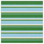 [ Thumbnail: Sky Blue, Dark Green, Green & White Stripes Fabric ]