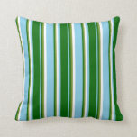 [ Thumbnail: Sky Blue, Dark Green, Green & White Stripes Pillow ]