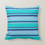 [ Thumbnail: Sky Blue, Dark Turquoise, and Midnight Blue Lines Throw Pillow ]