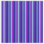 [ Thumbnail: Sky Blue, Dark Violet & Dark Blue Colored Lines Fabric ]