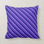 [ Thumbnail: Sky Blue, Dark Violet & Dark Blue Colored Lines Throw Pillow ]