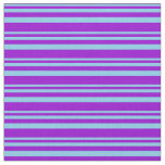 [ Thumbnail: Sky Blue & Dark Violet Lines Pattern Fabric ]
