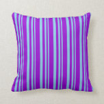 [ Thumbnail: Sky Blue & Dark Violet Lines Pattern Throw Pillow ]