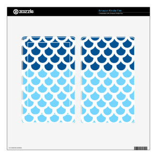 Sky Blue/ Deep Ocean Fish Scale 2 Kindle Fire Decals