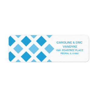 Sky Blue Diamond Check Custom Personalized Label