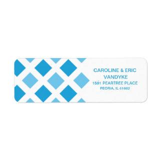 Sky Blue Diamond Check Custom Personalized Label
