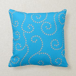 sky blue diamond swirls throw pillows