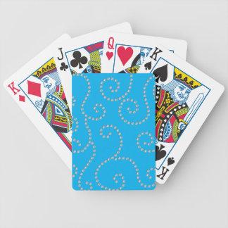 Sky blue diamond swirls poker deck
