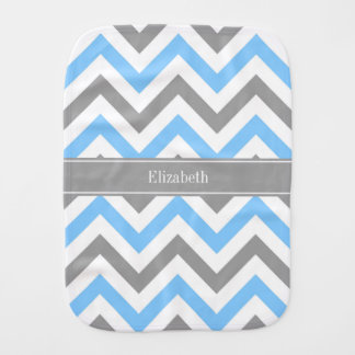 Sky Blue Dk Gray Wht LG Chevron Gray Name Monogram Burp Cloth