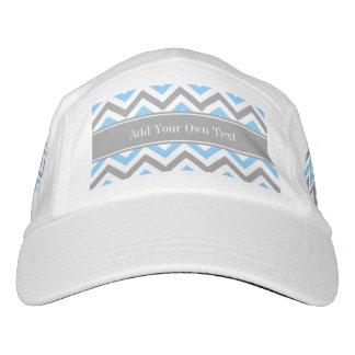 Sky Blue Dk Gray Wht LG Chevron Gray Name Monogram Headsweats Hat