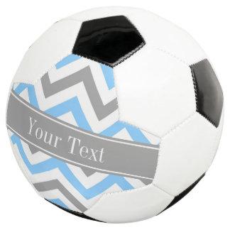 Sky Blue Dk Gray Wht LG Chevron Gray Name Monogram Soccer Ball