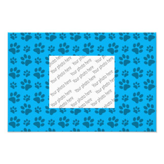 Sky blue dog paw print pattern photo print